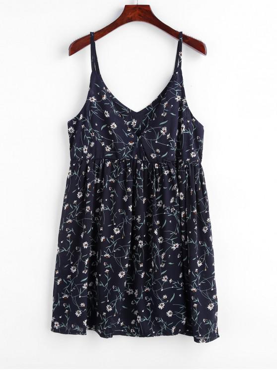 outfit Floral Print Empire Waist Cami Dress - DEEP BLUE ONE SIZE
