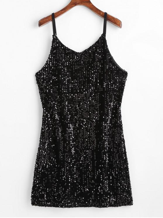 shop Sequined Dual Straps Mini Dress - BLACK S
