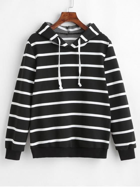 shops ZAFUL Drawstring Striped Hoodie - BLACK L