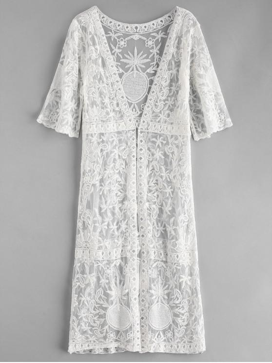 fancy Lace Open Front Longline Cover Up - WHITE ONE SIZE
