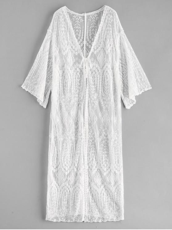 aa4a4355f2 22% OFF] 2019 Lace Tie Front Longline Cover Up In WHITE | ZAFUL