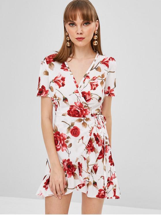 women's Flower Ruffle Wrap Dress - MILK WHITE L