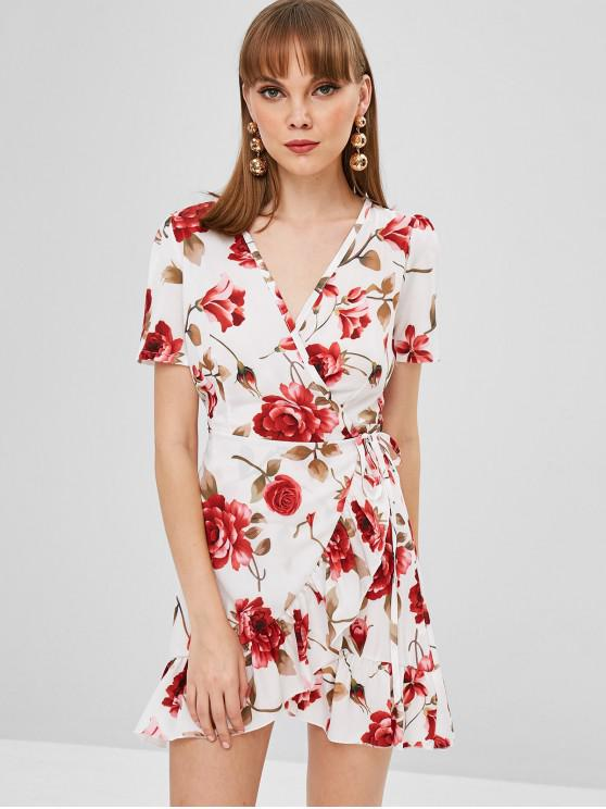 shop Flower Ruffle Wrap Dress - MILK WHITE M