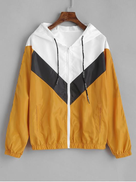 latest Tricolor Chevron Swishy Track Jacket - BEE YELLOW XL