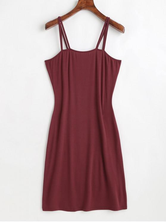 fancy ZAFUL Strappy Mini Dress - RED WINE S