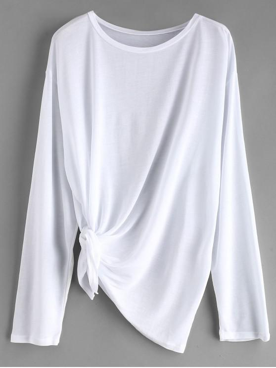5dd06519330ae affordable Tie Side Drop Shoulder Beach Cover Up Top - WHITE ONE SIZE