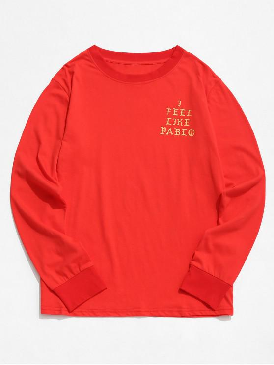 outfits Long Sleeves Letter Graphic T Shirt - RED 3XL