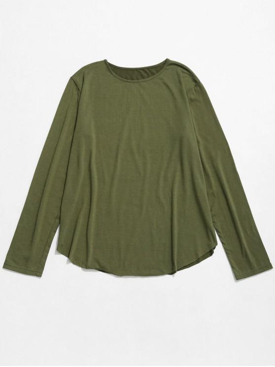 hot Round Collar Long Sleeves Solid Color T Shirt - ARMY GREEN M