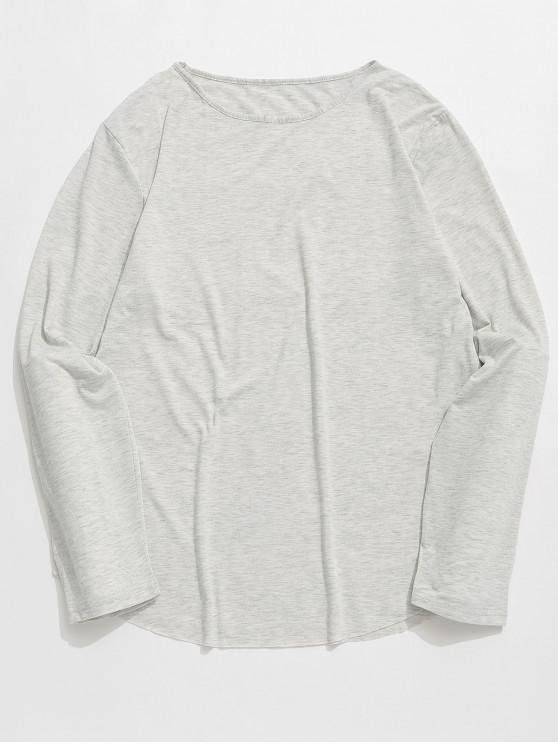 best Round Collar Long Sleeves Solid Color T Shirt - GRAY CLOUD L