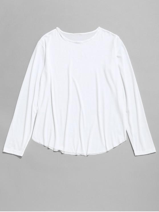 buy Round Collar Long Sleeves Solid Color T Shirt - WHITE M