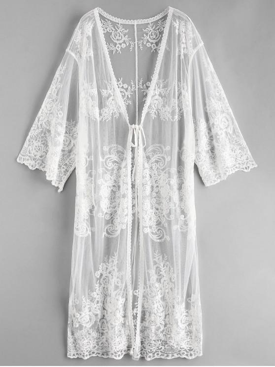 buy Lace Tie Front Longline Kimono Cover Up - WHITE ONE SIZE