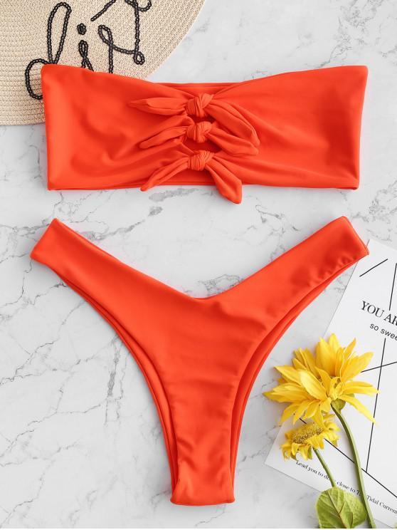 best ZAFUL Tied Keyhole Bandeau Bikini Set - ORANGE L