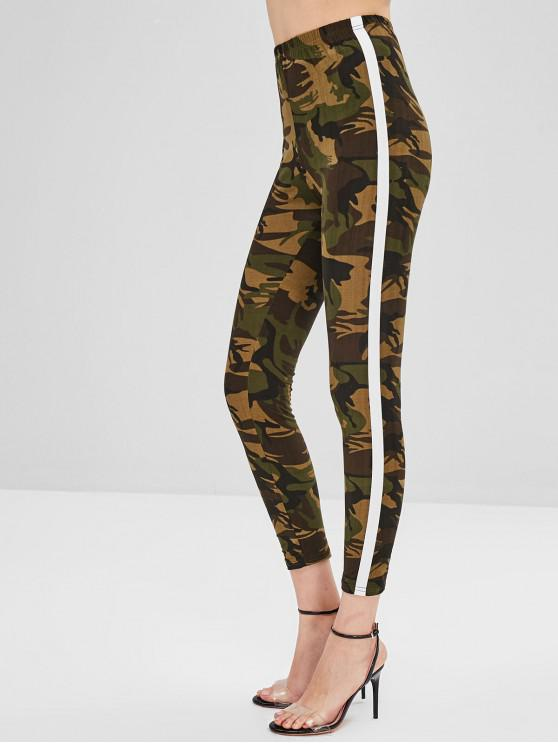 Stripe Trim Leggings - ACU Camuflaje S