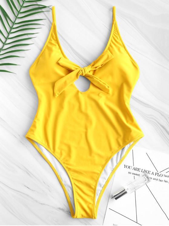 Bowtie Hochgeschnittener Einteiliger Badeanzug - Biene Gelb S