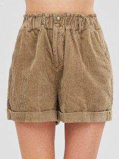 Cuffed Corduroy Shorts - Camel Brown M