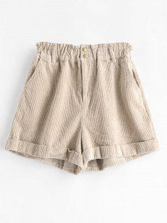 Cuffed Corduroy Shorts - Light Khaki M