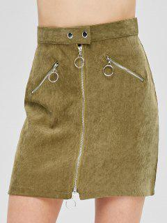 ZAFUL Corduroy Zip Fitted Skirt - Army Green M