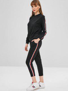 Sweatshirt And Sweatpants Matching Two Piece Set - Black Xl