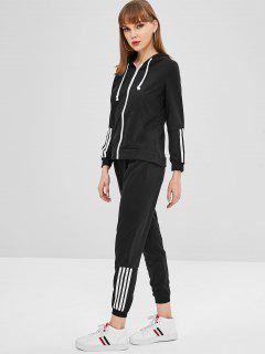 Zip Up Hoodie And Pants Tracksuit - Black S
