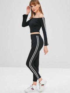 Off The Shoulder Top And Pants Two Piece Set - Black M