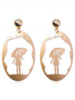 Metal Hollowed Girl Pattern Stud Earrings - Gold