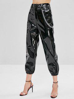 Shiny Chain PU Leather Jogger Pants - Black M