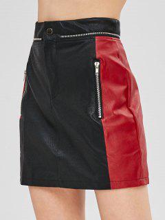 Two Tone PU Leather Mini Skirt - Black M