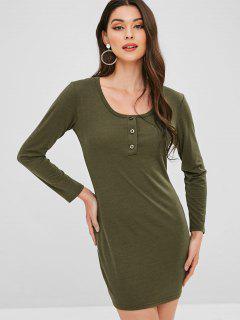 Half Button Mini Solid Dress - Army Green M