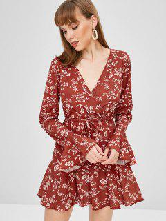 Surplice Bell Sleeve Floral Dress - Cherry Red S