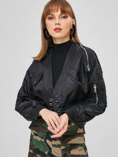 Zippered Hook Cropped Jacket - Black S
