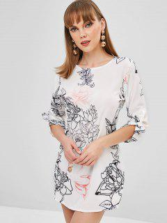 Mini Vestido Floral - Blanco S