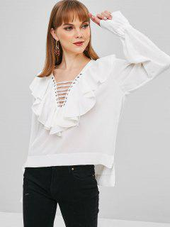 Rüschen Lace Up High Low Bluse - Weiß M
