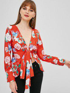 Floral Wickelbluse - Hellorange L