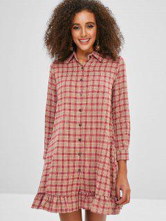 Button Up Ruffles Plaid Dress - Multi L