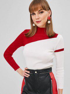 Zweifarbiger Gerippter Pullover Mit Stehkragen - Weiß