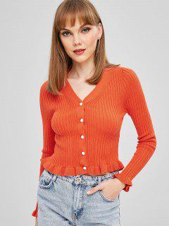 Abnehmen Button Up Frilled Cardigan - Orange  S