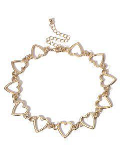 Heart Shape Metal Hollowed Choker Necklace - Gold