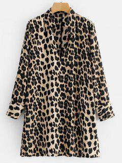 Long Sleeve Leopard Tunic Dress - Leopard M