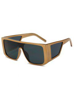 Square Frame Integrated Lens Sunglasses - Gold