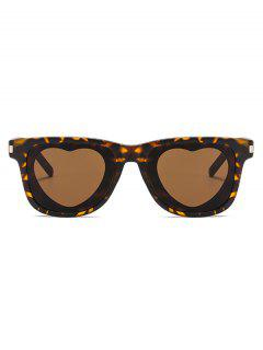 Heart Shape Lens Square Frame Sunglasses - Leopard