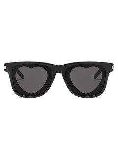 Heart Shape Lens Square Frame Sunglasses - Black