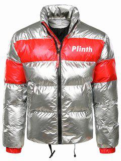 Letter Printed Shiny Color Spliced Padded Jacket - Platinum 2xl