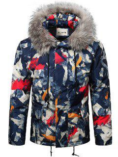Paint Splatter Fur Hooded Drawstring Design Padded Jacket - Rosso Red M