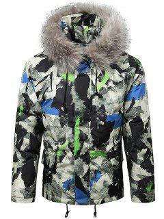 Paint Splatter Fur Hooded Drawstring Design Padded Jacket - Bleu De Soie 2xl