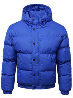Button Up Warmth Hooded Down Jacket - Cobalt Blue 2xl