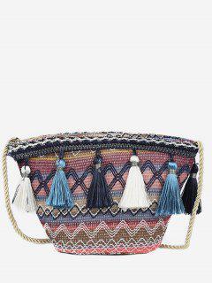 Ethnic Knitted Ripple Tassel Bag - Dark Slate Blue