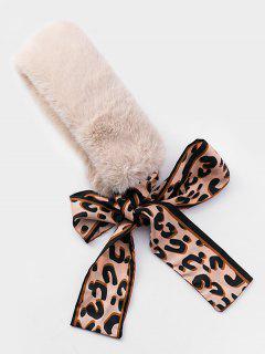 Fuzzy Design Leopard Decoration Scarf - Beige