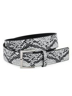 Retro Metal Pin Buckle Snake Pattern Waist Belt - Black
