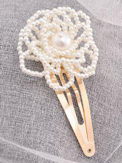 Elegant Faux Pearl Floral Hairpin - Blanc