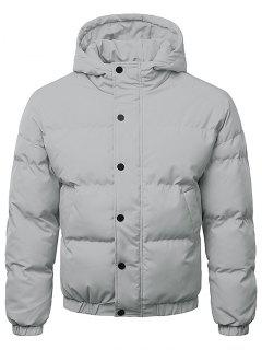 Button Up Warmth Hooded Down Jacket - Gray Cloud M